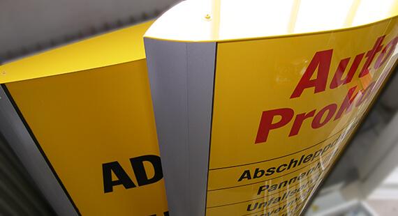 ADAC München Pylon Lichtwerbung Hamburg Schreib+Keppler, Europa Lichtwerbeanlagen, Lichtreklame, Leuchtreklame Außenwerbung Schilder Wegeleitsystem
