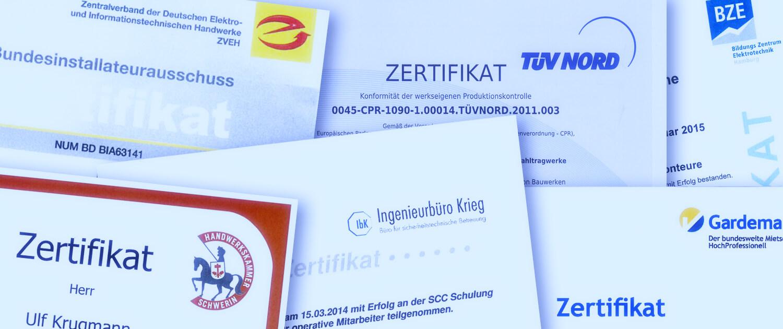 Schreib+Keppler Lichtwerbung Hamburg Zertifikate